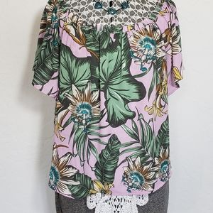 J Crew Cropped Floral Short Sleeve Blouse Top